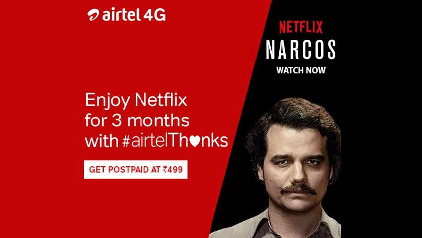 Airtel Gives Free Netflix Subscription to their postpaid Users.